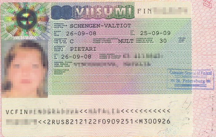 Виза в Финляндию в паспорте